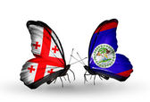 Butterflies with Georgia and Belize flags on wings — Stock Photo