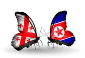 Butterflies with Georgia and North Korea islands flags on wings — Stock Photo