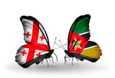 Butterflies with Georgia and Mozambique flags on wings — Stock Photo