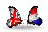 Butterflies with Georgia and Holland flags on wings — Stock Photo