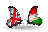 Бабочки с флагами Грузии и Таджикистана на крыльях — Стоковое фото