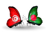 Butterflies with Tunisia and Bangladesh flags on wings — Foto de Stock