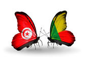 Butterflies with Tunisia and Benin flags on wings — Stock Photo