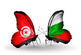 Butterflies with Tunisia and Bulgaria flags on wings — Stock Photo