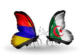 Butterflies with Armenia and Algeria flags on wings — Foto de Stock