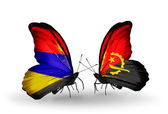 Butterflies with Armenia and Angola flags on wings — Stock fotografie