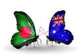 Butterflies with Bangladesh and Australia flags on wings — Stock Photo