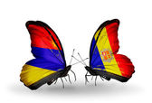 Butterflies with Armenia and Andorra flags on wings — Foto de Stock