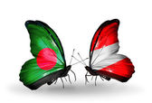 Butterflies with Bangladesh and Austria flags on wings — Stock Photo