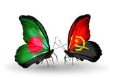 Butterflies with Bangladesh and Angola flags on wings — Stock fotografie