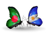 Butterflies with Bangladesh and Argentina flags on wings — Стоковое фото