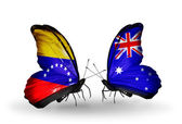 Butterflies with Venezuela and  Australia flags on wings — Stock Photo