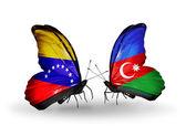 Butterflies with Venezuela and  Azerbaijan flags on wings — Stock fotografie