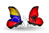 Butterflies with Venezuela and  Albania flags on wings — Stock fotografie