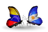 Butterflies with Venezuela and  Argentina flags on wings — Stock Photo