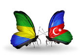 Butterflies with Gabon and  Azerbaijan flags on wings — Stock Photo