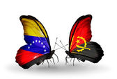 Butterflies with Venezuela and  Angola flags on wings — Foto de Stock
