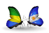 Butterflies with Gabon and  Argentina flags on wings — Stock fotografie