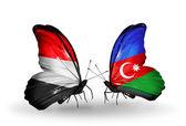 Butterflies with Yemen and  Azerbaijan flags on wings — Stock fotografie