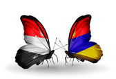 Butterflies with Yemen and  Armenia flags on wings — Stock Photo