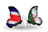 Butterflies with Costa Rica and Algeria flags on wings — Stock Photo