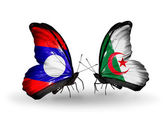 Butterflies with Laos and Algeria flags on wings — Stock Photo