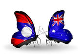 Butterflies with Laos and Australia flags on wings — Stock Photo