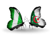 Butterflies with Nigeria and Algeria flags on wings — Foto de Stock