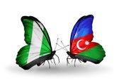 Butterflies with Nigeria and Azerbaijan flags on wings — Foto de Stock