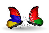 Butterflies with Armenia and  Belarus flags on wings — Stock Photo