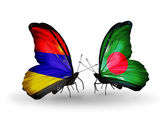 Butterflies with Armenia and  Bangladesh flags on wings — Foto de Stock