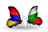 Butterflies with Armenia and  Bulgaria flags on wings — Stock Photo