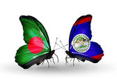 Butterflies with Bangladesh and Belize flags on wings — Stock Photo
