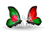 Butterflies with Bangladesh and Belarus flags on wings — Stock fotografie