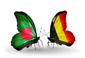 Butterflies with Bangladesh and Belgium flags on wings — Foto de Stock