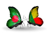 Butterflies with Bangladesh and Benin flags on wings — Foto de Stock