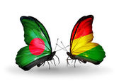 Butterflies with Bangladesh and Bolivia flags on wings — Stock fotografie