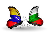 Butterflies with Venezuela and  Bulgaria flags on wings — Stock Photo