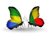 Butterflies with Gabon and  Benin flags on wings — Foto de Stock