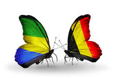 Butterflies with Gabon and  Belgium flags on wings — Foto de Stock