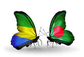 Butterflies with Gabon and  Bangladesh flags on wings — Foto de Stock