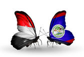 Butterflies with  Yemen and  Belize flags on wings — Fotografia Stock