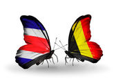 Butterflies with  Costa Rica and Belgium flags on wings — Stock Photo