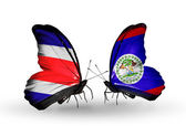Butterflies with Costa Rica and Belize flags on wings — Stock Photo