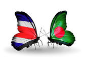 Butterflies with Costa Rica and Bangladesh flags on wings — Stock fotografie