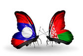 Butterflies with Laos and Belarus flags on wings — Photo