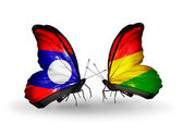 Butterflies with Laos and Bolivia flags on wings — Stock Photo
