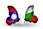 Butterflies with Laos and Bulgaria flags on wings — Stock Photo