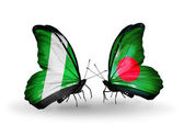 Butterflies with Nigeria and Bangladesh flags on wings — Stock Photo