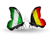 Butterflies with Nigeria and Belgium flags on wings — Foto de Stock
